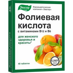 Фолиевая кислота с витаминами B12 и B6, 0.22 г, таблетки, 40 шт.