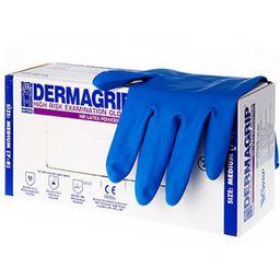 Перчатки смотровые латексные неопудренные Dermagrip High Risk, размер M, нестерильная (ые, ый), 50 шт.