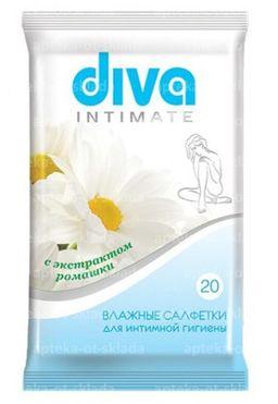 Diva салфетки влажные для интимной гигиены с ромашкой, салфетки, 20 шт.