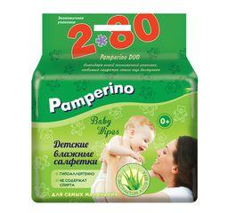 Салфетки влажные детские Pamperino с Алоэ Вера, салфетки гигиенические, 160 шт.