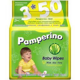 Салфетки влажные детские Pamperino с Алоэ Вера, салфетки гигиенические, 150 шт.