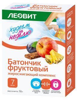 Худеем за неделю Батончик фруктовый Жиросжигающий комплекс, батончик, 10 г, 7 шт.