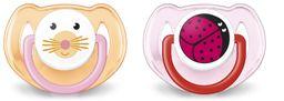 Соски-пустышки Philips AVENT Домашние животные, (83520) SCF182/24, 6-18 мес., из силикона (силиконовый), 2 шт.