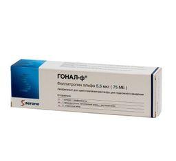 Гонал-ф, 5.5 мкг, лиофилизат для приготовления раствора для подкожного введения, 3 мл, 1 шт.