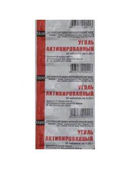 Уголь активированный, 250 мг, таблетки, 10 шт.
