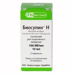 Биосулин Н, 100 МЕ/мл, суспензия для подкожного введения, 10 мл, 1 шт.