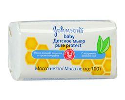 Johnsons Baby Pure Protect детское мыло с экстрактом зеленого чая, мыло детское, 100 г, 1 шт.