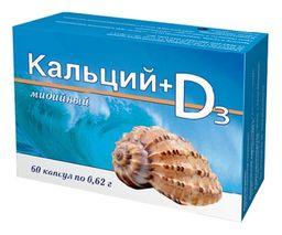 Кальций мидийный + Витамин D3, 0.62 г, капсулы, 60 шт.