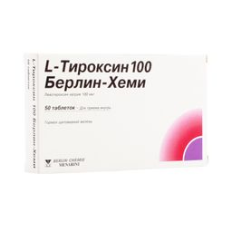 L-Тироксин 100 Берлин-Хеми, 100 мкг, таблетки, 50 шт.