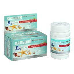 Кальций Д3 Ультра Малина, 500 мг, таблетки жевательные, 100 шт.