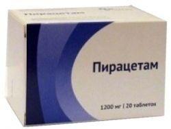 Пирацетам, 1200 мг, таблетки, покрытые пленочной оболочкой, 20 шт.