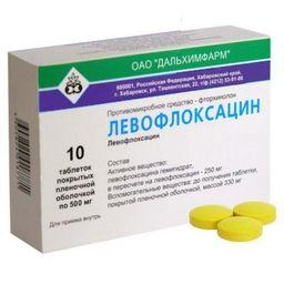 Левофлоксацин, 500 мг, таблетки, покрытые пленочной оболочкой, 10 шт.